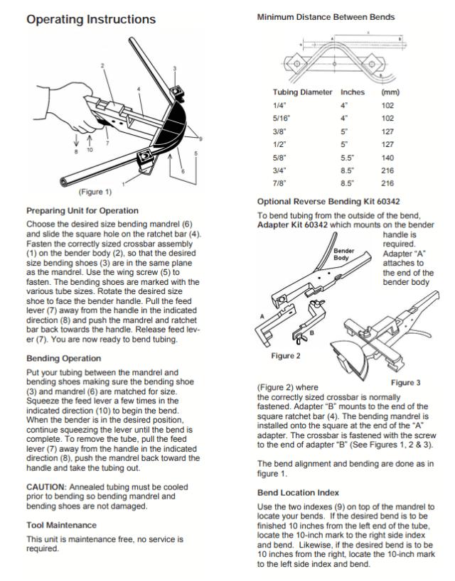 Instructions HVAC TUBE BENDER